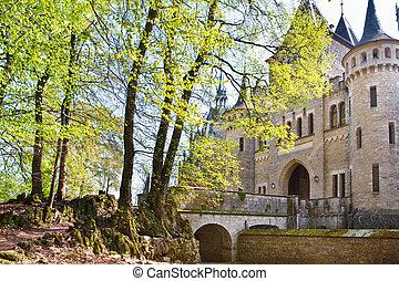 romántico, antiguo, castillo, marienburg