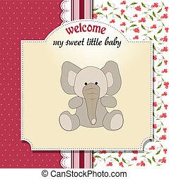 romántico, bebé, anuncio, tarjeta