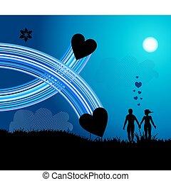 romántico, caminata