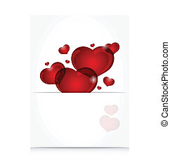 romántico, carta, con, lindo, corazones