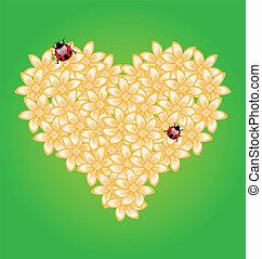 romántico, corazón, flores, y, mariquita
