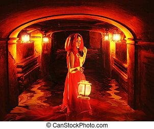 romántico, dama, en, rojo, tenencia, un, linterna, en, un, oscuridad, calabozo