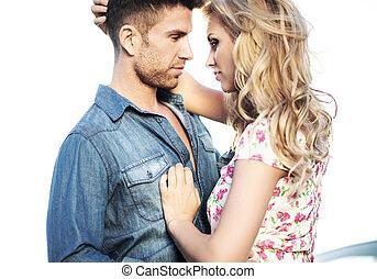 romántico, escena, de, el, besar, pareja