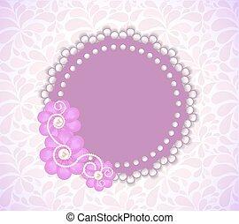 romántico, flor, marco, vector, plano de fondo