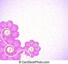 romántico, flor, vector, plano de fondo