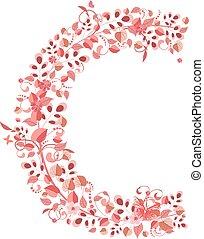 romántico, floral, letra c