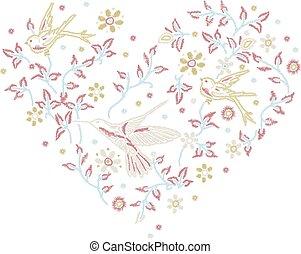 romántico, forma corazón, con, flores, y, aves