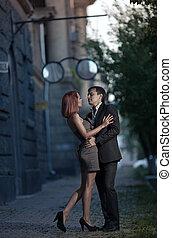 romántico, foto, de, un, abrazar, pareja