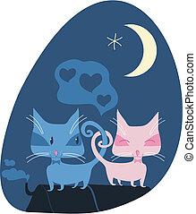 romántico, gatos