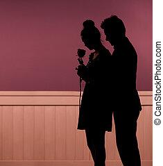 romántico, humor, de, el, pareja joven
