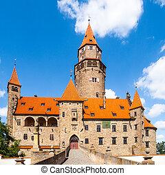 romántico, medieval, castillo, bouzov, en, república checa