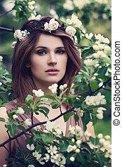 romántico, mujer, modelo, aire libre
