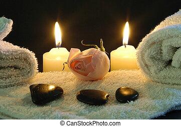 romántico, noche, balneario
