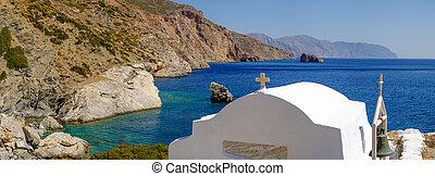romántico, panorama, vista, de, playa, con, capilla