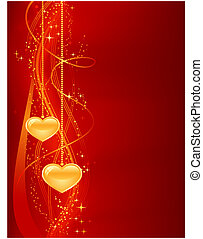 romántico, plano de fondo, en, rojo, oro, con, corazones