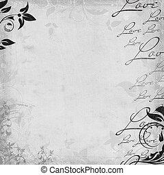 romántico, plano de fondo, set), (1, vendimia