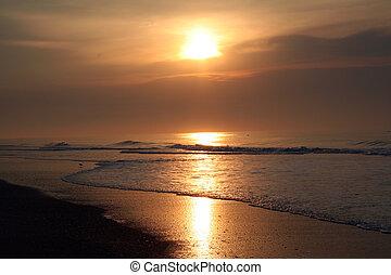 romántico, playa, salida del sol