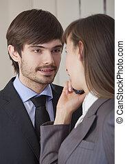 romántico, relación, en, oficina