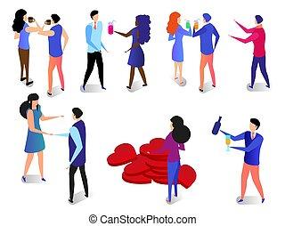 romántico, relación, set., parejas felices, enamorado