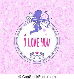 romántico, saludo, card., vector, illustration.
