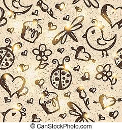 romántico, seamless, patrón, vector, eps, 10