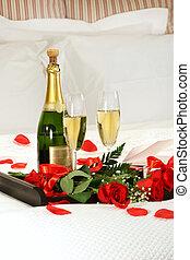 romántico, tarde, con, champaña