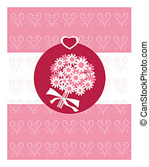 romántico, tarjeta, con, novia, ramode flores