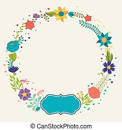 romántico, vario, retro, plano de fondo, flores, style.