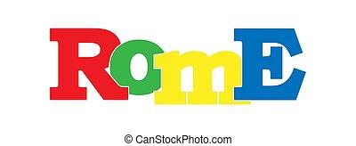 rom., bannière, italie, nom, capital