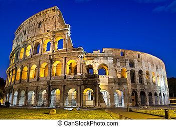 rom, -, colosseum, skymning