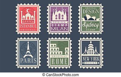 rom, frimärken, paris, färsk, vektor, land, sydney, stad, illustration, istanbul, kollektion, arkitektonisk, milstolpar, olik, york, milan