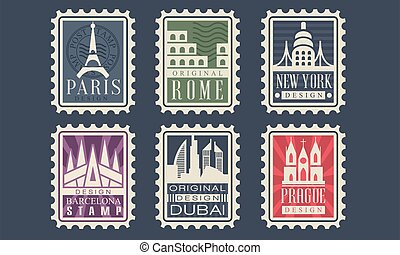 rom, frimärken, paris, york, vektor, prag, land, stad, barcelona, illustration, färsk, kollektion, arkitektonisk, milstolpar, olik, dubai
