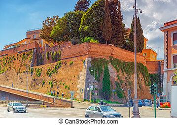 rom, italien, -, mai, 09, 2017, :, fragment, von, der, altes , festung, wand, von, der, vatican., zurück, ansicht., italy.