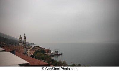 rom, présentation, défaillance, italy., roof., historique, temps, brumeux, weather., bâtiment., vue