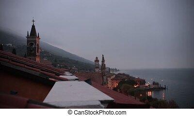 rom, présentation, italy., bâtiment., roof., historique, twilight., vue