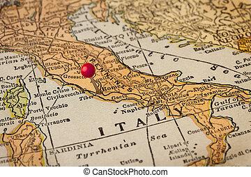rom, und, italien, weinlese, landkarte