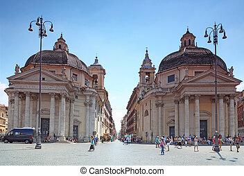 roma, -, agosto, 4:, piazza del popolo, en, agosto, 4, 2010,...