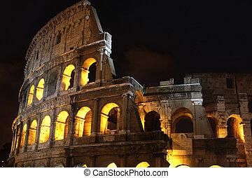 roma, coliseo, italia, noche
