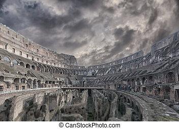 roma, colosseum, interior, inclinação, turno