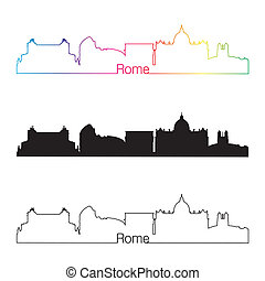 roma, contorno, lineal, estilo, con, arco irirs