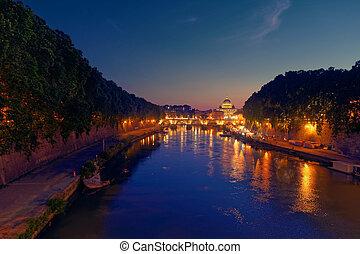 roma, crepuscolo, vista, di, san pietro, cupola, fiume tiber, e, st., angelo, ponte