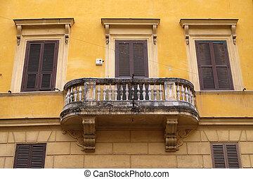 roma, itália, sacada, antigas, casa