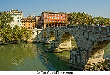 roma, italia, sisto, puente, ponte
