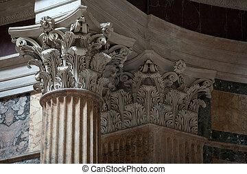roma, italy., panteão, é, um, famosos, monumento, de,...