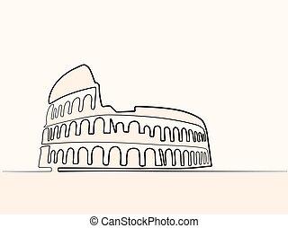 roma, línea, continuo, coliseum., icono