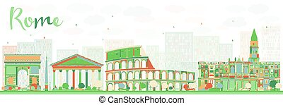 roma, landmarks., color, contorno, resumen