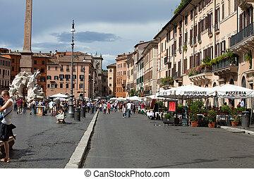 roma, -, piazza, navona., népszerű, derékszögben, alatt,...
