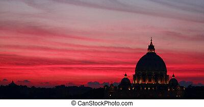 roma, por, noche, -, vaticano, cúpula, silueta