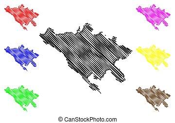 roma, republik, vektor, metropolitansk, (italian, skiss, huvudstad, illustration, rom, italy), stad kartlagt, klottra
