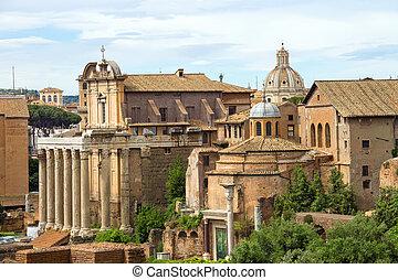 roma, rovine, italia, centro, pittoresco